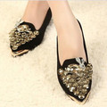 Free shipping 2013 women's shoes pointed toe flat rhinestone wedding shoes bridal shoes cute fashion single flats
