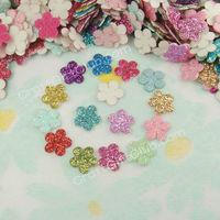 800 Glitter 5 Petal Flower Applique Scrapbooking Craft Favor 10mm Free Ship