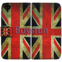 10Pcs/Lot  Retro Union Jack UK Flag Wallet Leather Cover Case For Apple iPhone 4 4G 4S   030GQ-01