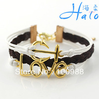 B00-762 10PC/Lot Free Ship Black White Leather Cuff Braceet Braided Love Archor Bracelet 2013 Wholesale Costume Jewelry