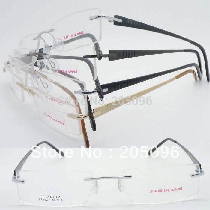 wholesale LT642 pure titanium rimless IP vacuum eletroplating color embossed temple rectange eyeglasses frame(China (Mainland))