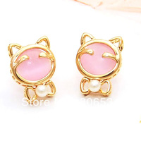 18K Gold Plating  Lovely Cat Stud Earrings With opals and pearls FREE SHIPPING