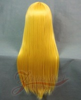 Cosplay wig deep gold 80cm long straight hair high temperature wire cos wig
