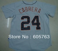Free shipping Baseball jerseys #24 Miguel Cabrera 24 grey gray color away road good quality cheap jersey gift size:M-XXXL