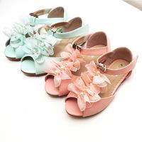 2013 the latest Korea sync summer Spring open toe sandals chiffon lace metal beaded children shoes little princess sandals