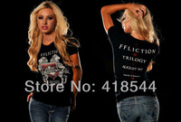 Free Shipping SF 2014 summer T-shirts for Women,short sleeve cotton brand top casual women's t shirt cool printing tees hot sell
