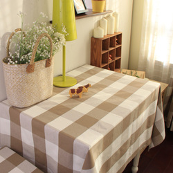 American 100% cotton yarn dyed plaid table cloth dining table cloth gremial tomy - series khaki plaid(China (Mainland))