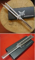 Patent Super Practice BALISONG BUTTERFLY COMB stainless   Trainer NO screw