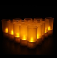 Free Shipping  Battery Operated LED Candle Light (10pcs/lot)  monochrome have cup
