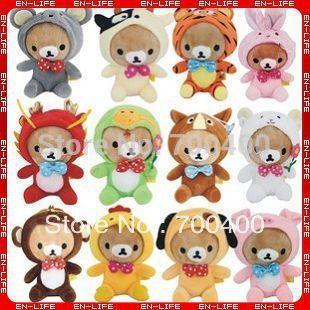 Fast Free Shipping + Wholesale! 12 constellation rilakkuma plush toys dolls stuffed soft bear for children animal tiger