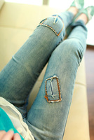 Free shipping Water wash 2013 applique slim pencil pants jeans