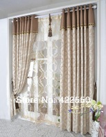 High-end European chenille jacquard cotton curtains / camel / modern minimalist / bedroom, living room