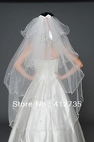 Free shipping Bride multilayer flower lace veil 100cm
