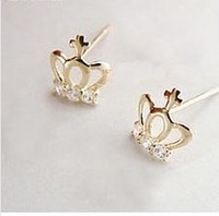 Min.order is $5 (mix order),Free Shipping,Cute Love Imitation Diamond Small Crown Earrings (Gold),Fashion Jewelry,(Z156)