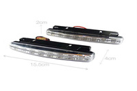New 2PCS Super White 8 LED Universal Car Light Daytime Running Auto Light DRL Auxiliary Lamp in the day