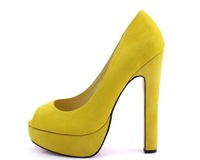 2013 Latest fashion new design platform pumps high heel peep toe genuine leather colorful shoes  for women