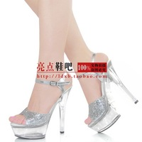 2013 women's shoes 15cm ultra high heels sandals shoes transparent bottom crystal shoes