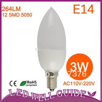 LED candle light/e14 led bulb 3W 12 SMD 3528 Epistar 35mil 110V-240V Led Lamp10pcs/lot  Warm White / Cool White Free Shipping