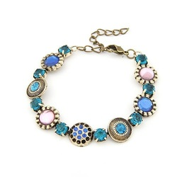 New Alloy Bohemia Styel Rhinestone Bead Ancient Bronze Vintage Link Bracelet 2PCS / Lot Lady Engagement Party Jewelry(China (Mainland))