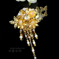 Sgsj bride costume hair accessory gold handmade tassel comb flag crystal accessories 159810 Free Shipping