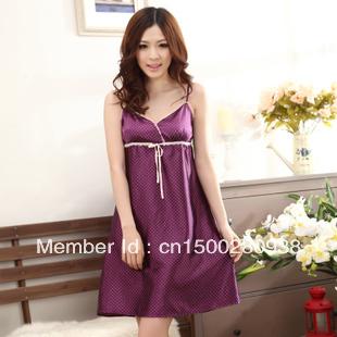 Female summer Nightgown Pajamas, sleeveless sling home furnishing service sexy ladies wave V collar silk skirt leisure dress