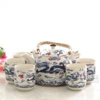 - jingdezhen ceramic 7 household big set tea set - blue and white dragon