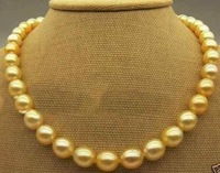SOUTH SEA AAA NATURAL11- 12 mm GOLDEN PEARL NECKLACE 14K 18""