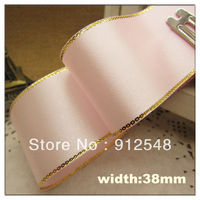 "Free Shipping 1-1/2""(38mm) 0ne pieces/25Yards Pale pink Gold Edge Satin Ribbon,Jewelry Accessory,Gift packing,JBGX12006"