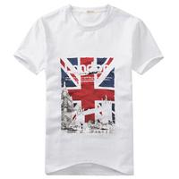 2013 Summer Fashion Short-Sleeve T-Shirt Men's England Flag Print O-Neck Tees Free Shipping Wholesale