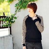 Plus size leopard print long sleeve sweatshirt  S-XXXXL  size