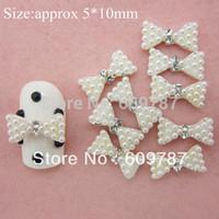 Free Shipping 30pcs/bag 3D white pearl bow Rhinestone Metal Nail Art Decoration