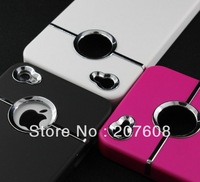 250pcs/lot Chromed Metal Ring Hole Hard Cover Case for iPhone 4 4S