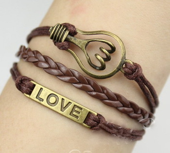 15%off!(Love Bracelet+Light bulb Bracelet)leather Multilayer bracelet cord!set of 5!2pcs