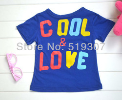 Free Shipping 2013 New Fashion Summer Vogue Boys/Girls Polo Casual Cool Love Forth Blue Short Sleeved Cotton T Shirts Wholesale(China (Mainland))