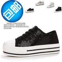 Platform platform shoes high-top canvas shoes female shoes paillette women's elevator