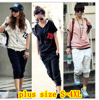 2013 plus size clothing Women summer fashion sweatshirt set casual sports set mm