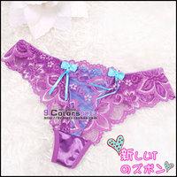 Romantic season multicolour transparent lace embroidered bow women's t