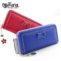 Pear doll wallet female big zipper bow long design women's wallet women's wallet q220