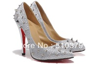 new colorful crystal shoes,Sexy Crystal high heels,Gorgeous wedding shoes shinning pumps,dress red bottom shoes