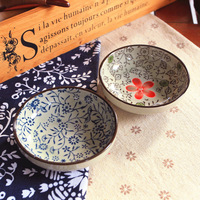 Ceramics japanese style tableware endulge zakka blue safflower flavored dish plate