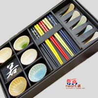 Free shipping Calvings glaze tableware crack glaze sushi gift box plate 15 piece set tableware set wedding gift