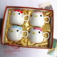 Free shipping Jingdezhen bone china tea set cartoon hellokitty tea cup gift box 4 gift set