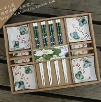 Free shipping Cutlery set endulge japanese style sushi tableware flower ceramic plate tableware 1 twinset