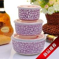 Free shipping Bone china ceramic fresh bowl piece set ceramic bowl surnames bowl plastic box seal instant noodles bowl gift