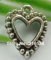 Wholesale Fashion 200pcs Tibet Silver Heart Charms Pendant DIY Metal Jewelry 18x14mm M526