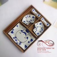 Free shipping Jingdezhen ceramic sushi plate 5 piece set cartoon rabbit flat plate dinnerware set