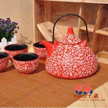 2014 Promotion Rushed Jingdezhen Under The Glaze Color free Shipping Tea Set Surnames Teapot Wedding Gift Piece