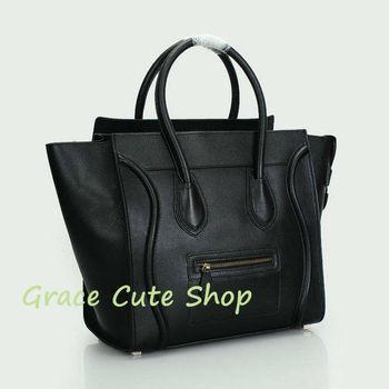 Branded Boston Bag Smile Bag 30CM Genuine Leather 1:1 Top Quality Dust Bag #CE98169-Black