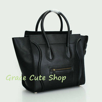 Branded Boston Bag Smile Bag 30CM Genuine Leather 1:1 Top Quality Dust Bag #CE98169-Black