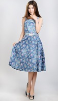 Free Shipping  women's 100% cotton print soft denim  belt suspender dress blue